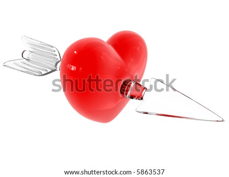 Red heart broken by glass arrow. idea illustration for Valentine's day