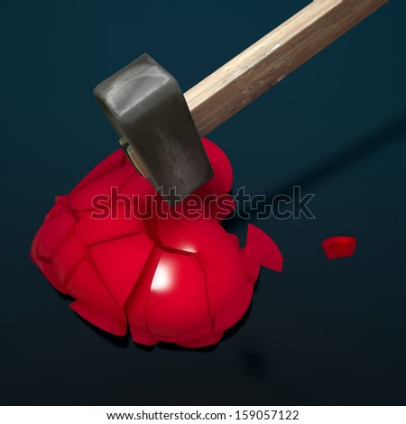 red heart broken into pieces with iron hammer - stock photo