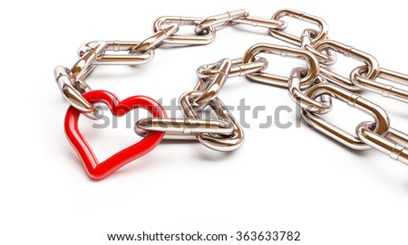 red heart chain. 3d Illustrations on a white background - stock photo