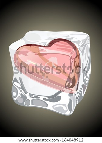 Red heart frozen in ice cube - stock photo