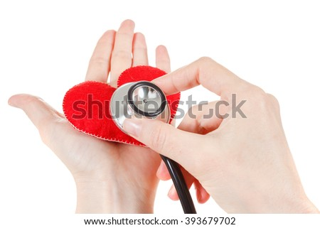 Red Heart, hands doctor and stethoscope. Healthcare and Medicine concept studio shot. Isolated on white background.