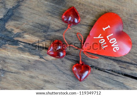Red heart - I love you - on wood - stock photo