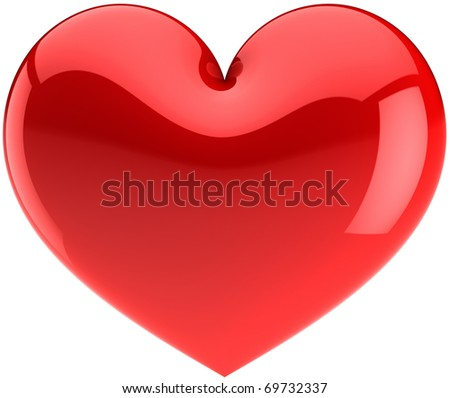 Red heart icon. I Love You symbol classic. Beautiful glossy Valentines Day design element. This is a detailed render 3d (Hi-res). Isolated on white background - stock photo