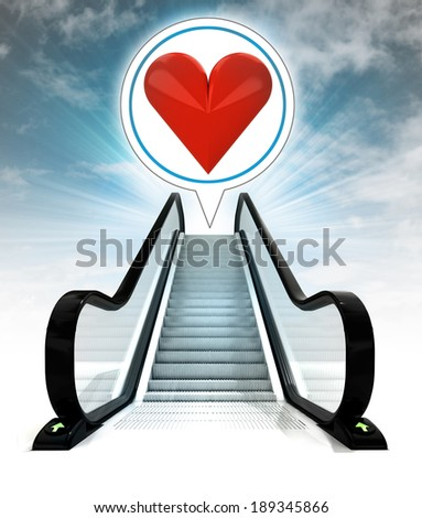 red heart in bubble above escalator leading to sky concept illustration - stock photo