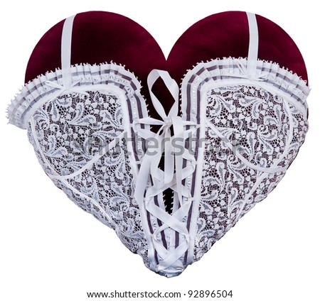 red heart in decorative patterns on white background.sewing.lace - stock photo