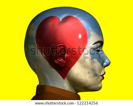 red heart in front of a sunny sky inside a portrait, thinking with emotion - stock photo