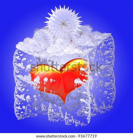 Red heart in ice box on blue background