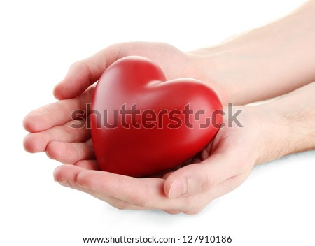 Red heart in man hands, isolated on white - stock photo
