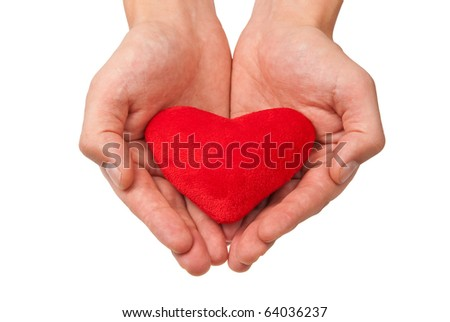 Red heart in man's hands isolated on white.