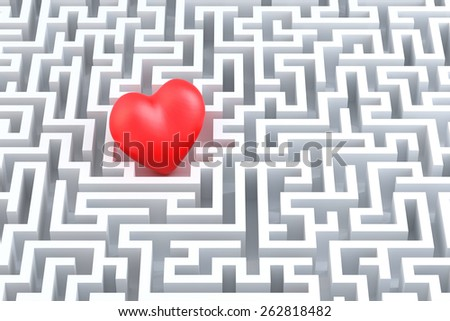 Red heart in the middle of the maze. 3d illustration - stock photo