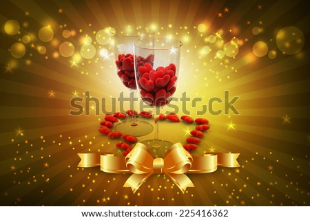 Red heart in wine glass