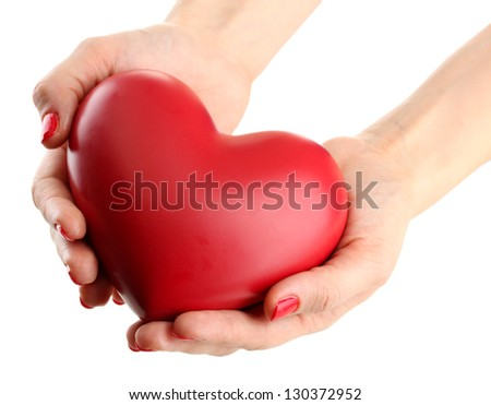 Red heart in woman hands, isolated on white - stock photo