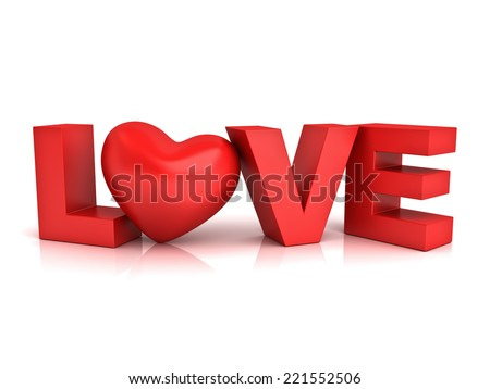 Red heart in word love isolated over white background with reflection - stock photo