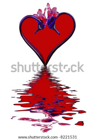 Red heart is reflected in water - stock photo