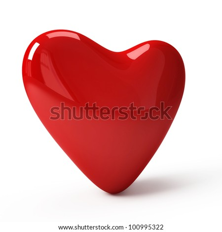 Red heart isolated on white - stock photo