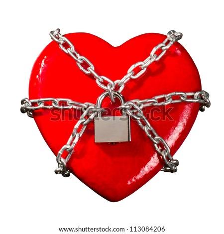 Red heart locked on padlock. Isolated - stock photo