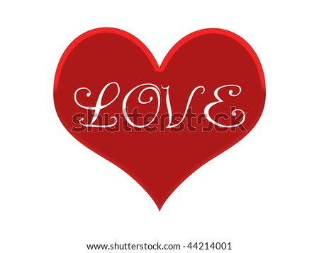 Red Heart LOVE sign -white background.