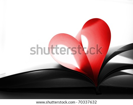 Red heart made from book pages - stock photo