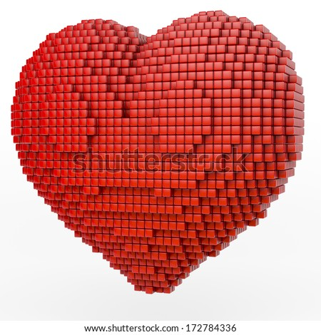 Red heart made of small cubes in pixel, voxel grid fashion, 3d rendering on white background - stock photo