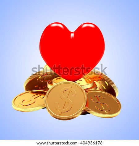 Red heart on a pile of golden coins on blue background. 3d illustration - stock photo