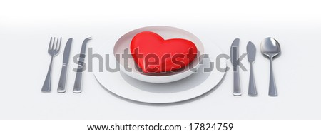 Red heart on a porcelain dish ready to eat