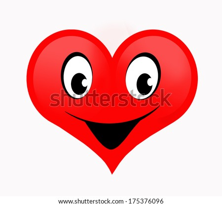 Red heart on a white background with happy smiling face  - stock photo