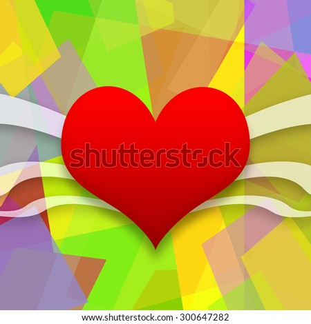 Red heart on abstract colorful background - stock photo