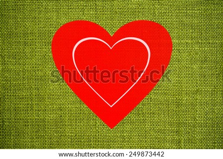 Red heart on green background illustration - stock photo