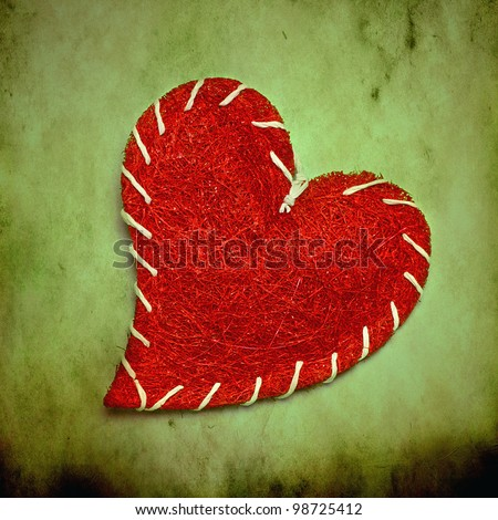 red heart on grunge background - stock photo