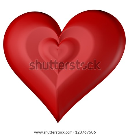 Red heart on isolated on white background, front diagonal view, valentine's day symbol