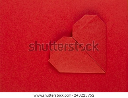 Red heart on red paper, banners, cards. Congratulation, wedding, valentine's day, red, origami, love. - stock photo
