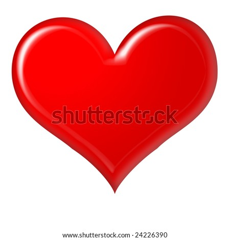 red heart on the white background