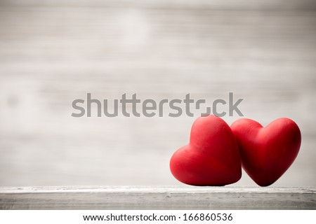 Red heart on the wooden  background. - stock photo