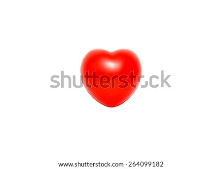 Red heart on white background (isolated) - stock photo