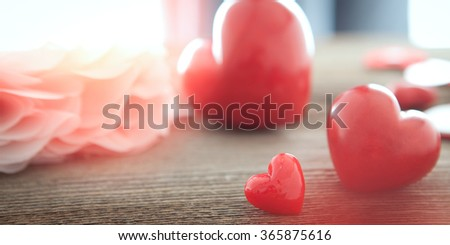 red heart on wooden board for valentines day - stock photo