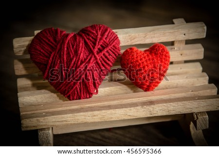 Red heart on wooden chair,Love concept,Two heart - stock photo