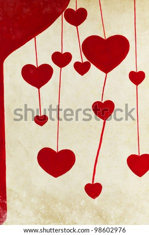 red heart painting on old grunge paper