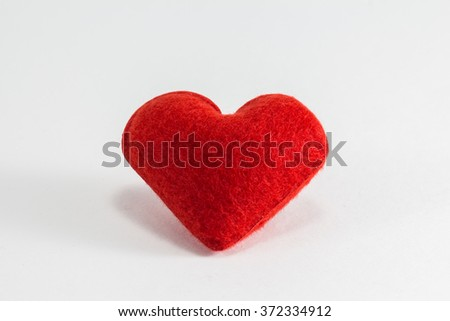 Red Heart Pillow in White Background - stock photo