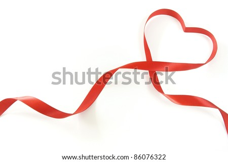 red heart ribbon - stock photo