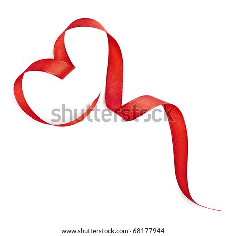 Red heart ribbon isolated on white background - stock photo