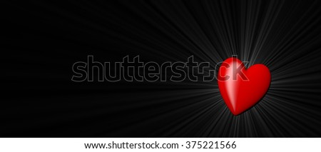 red heart shape as symbol of love on valentine's day on February, 14th