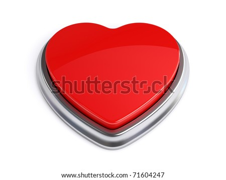 Red heart shape button - stock photo