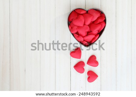 Red heart shape in box. Romantic love and Valentine's day concept. - stock photo