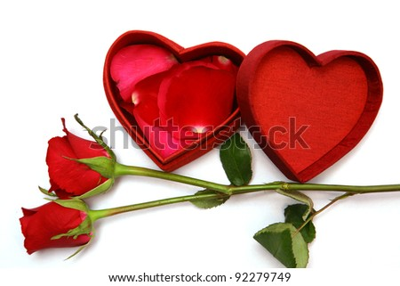 Red Heart Shaped Box and rose. - stock photo