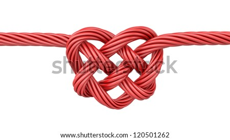 Red heart shaped knot, isolated on white background - stock photo