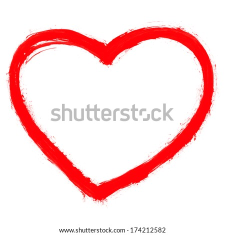 Red heart sign painted by watercolor brush stroke. Drawing created in ink sketch handmade technique. Color silhouette shape isolated on white background. Image of square format - stock photo