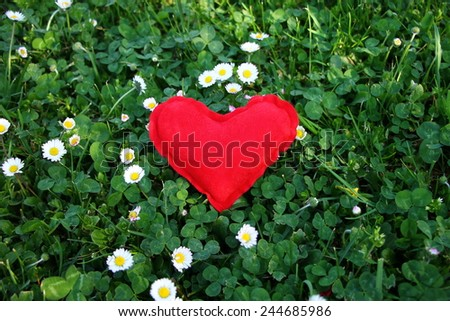 Red heart symbol of love in green grass  - stock photo