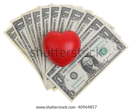 red heart symbol over a one dollar bills with clipping path - stock photo
