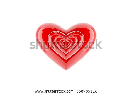 Red heart with glossy reflections isolated on white. - stock photo