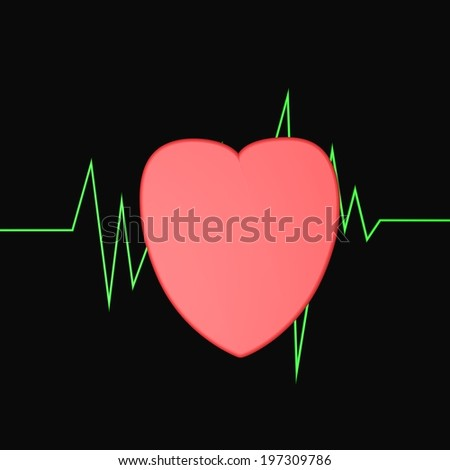 Red heart with green route of cardiogram on the back, 3d render - stock photo